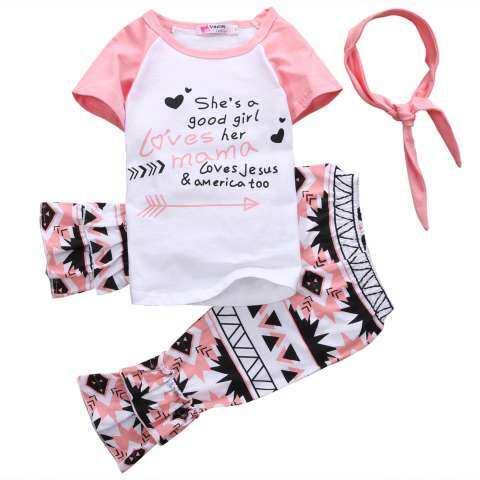 Manis Balita Anak-anak Anak Perempuan Pakaian Musim Panas T-Kemeja + Celana Legging