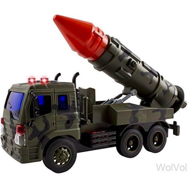 Wolvol Truck Military Fighter Car Truck Toy With Lights And Sound, Friction Powered, Batteries Included By Womul.