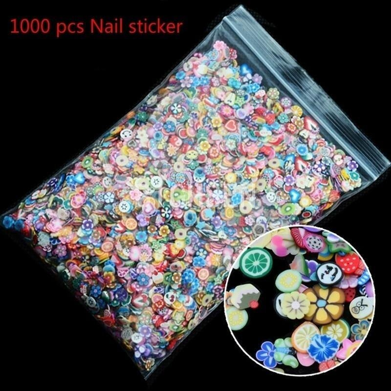 1000pcs 3D Fruit Animals Fimo Slice Clay DIY Nail Art Tips Sticker Decoration - intl