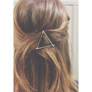 Lovely Simple Hollow Out Geometry Triangle Gold Plated Hair Clip Hairpin Snap