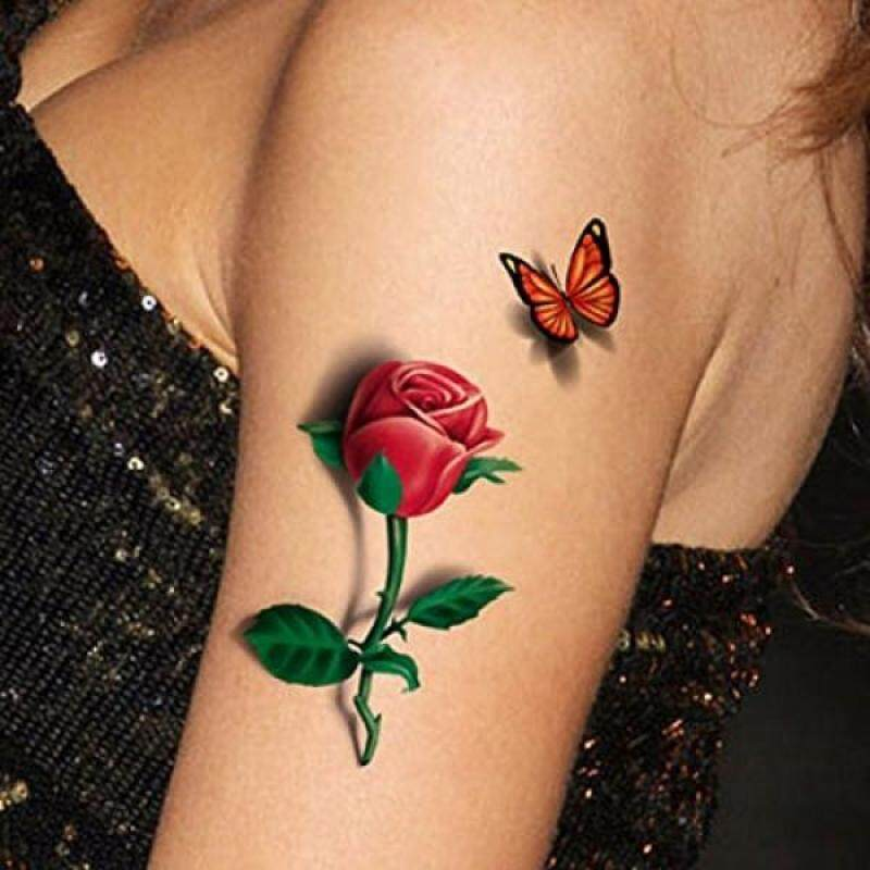 Buy TAFLY 5 Sheets 3D Ladies Body Art Sticker Sexy Butterfly Rose+Butterfly Temporary Tattoo - intl Singapore