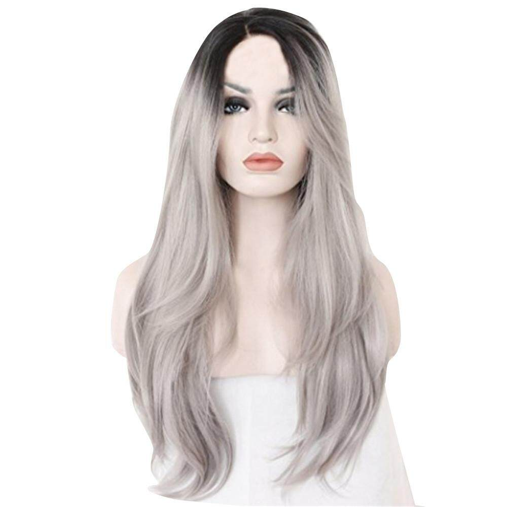 Women Fashion Long Natural Straight Silver Grey Wigs (Lenght: 70 Cm) Garnerstore -