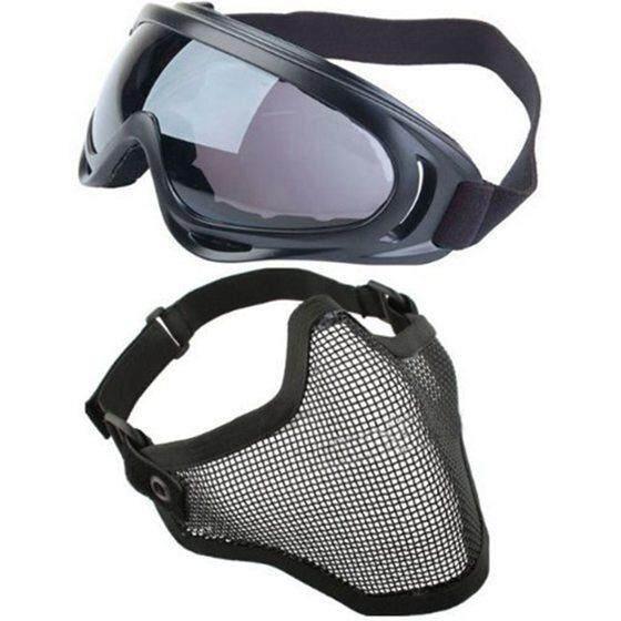 2 In 1 Perlindungan Steel Masker Muka Jaring dengan X400 UV Kacamata Pelindung Airsoft Paintball, Hitam-Intl