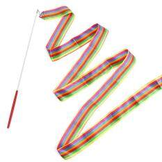 Hiqueen 4 เมตรเด็ก Art ริบบิ้นยิมนาสติก Streamer ริบบิ้นยิมนาสติก Stick สำหรับยิมเต้นรำยิมนาสติกบัลเลต์.