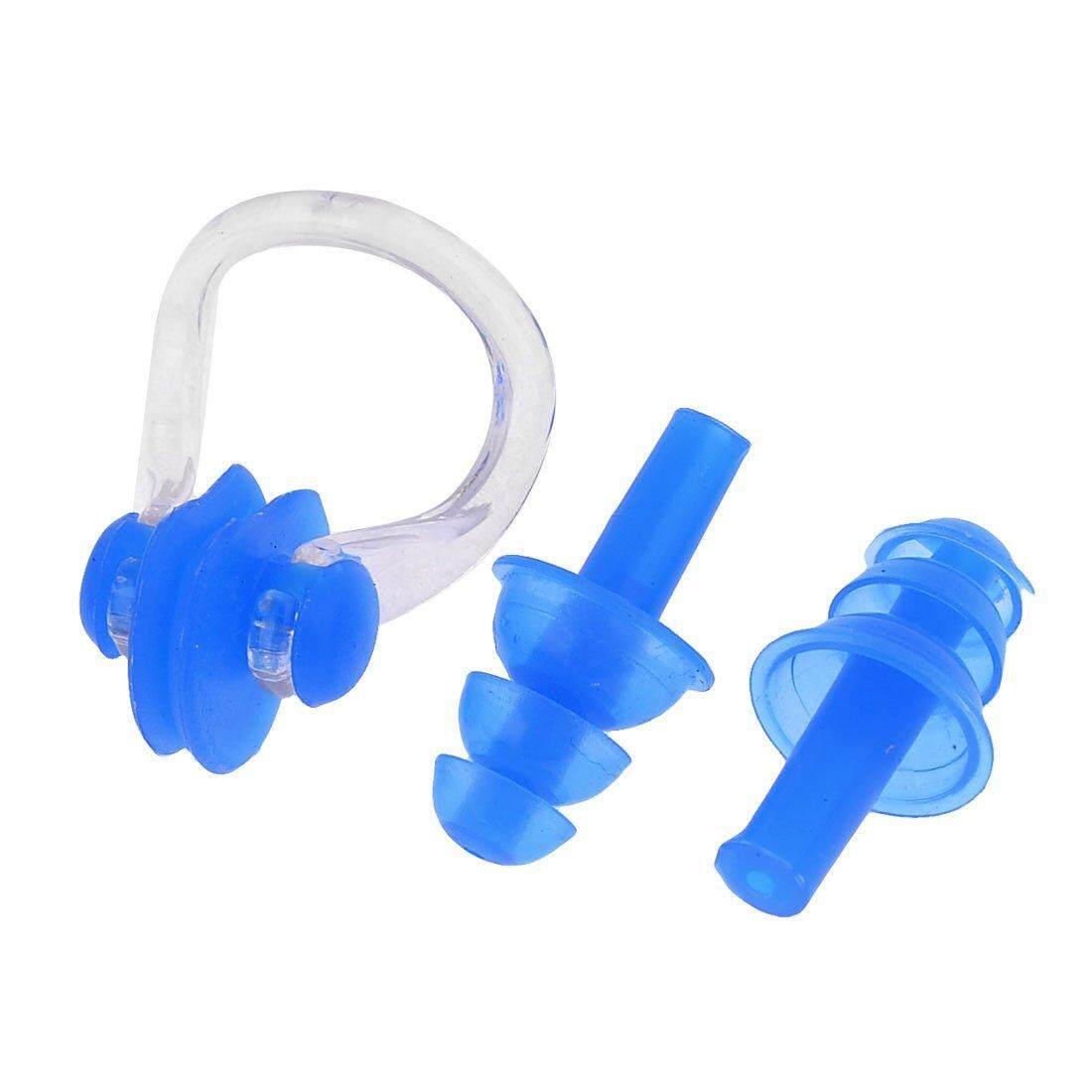 ผู้ใหญ่คู่สีฟ้าซิลิโคนว่ายน้ำหูปลั๊กคลิปหนีบจมูก - Intl.
