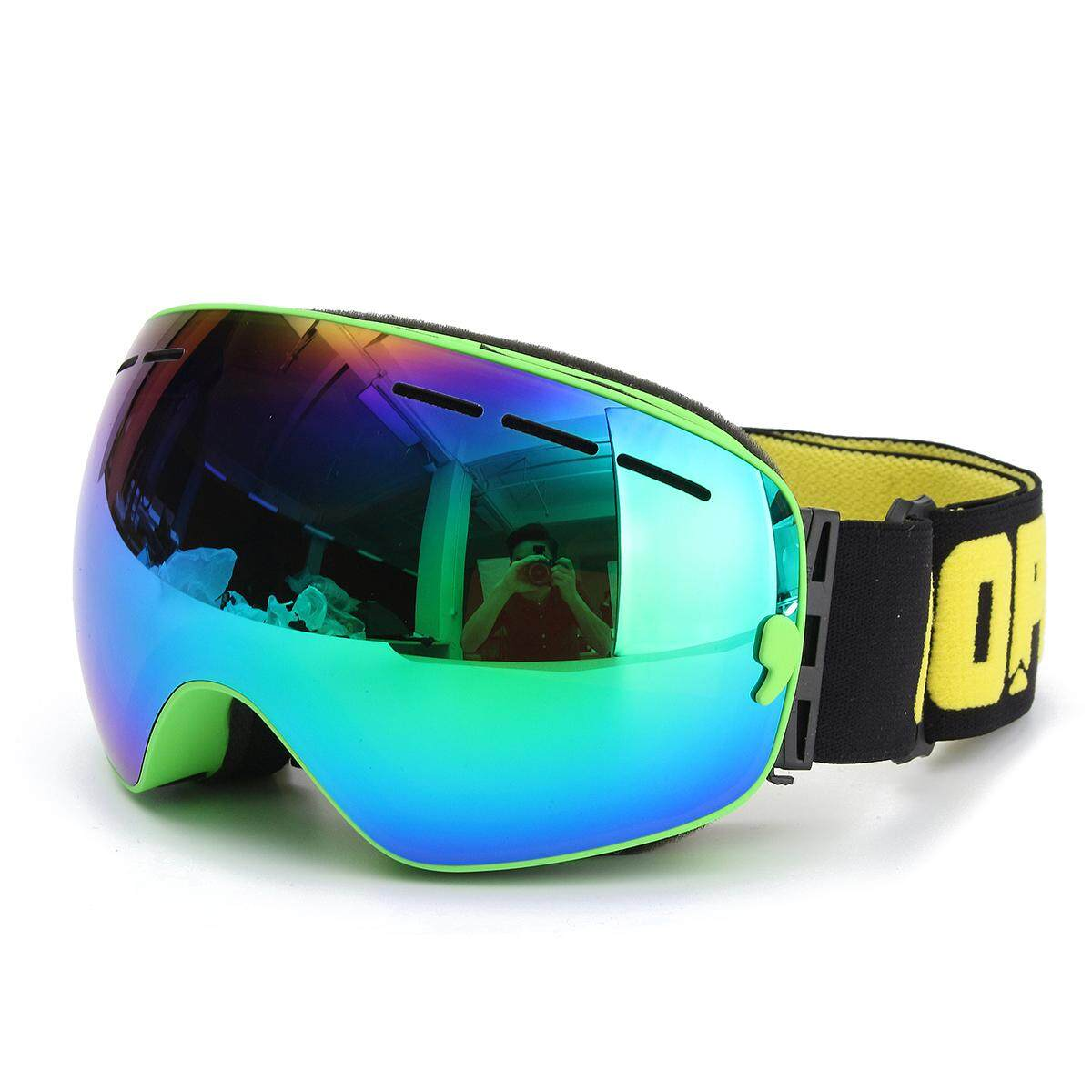 COPOZZ UV400 Spherical Dual-layer Lens Snowboard Glasses Anti-fog Skiing Goggles #Green - intl