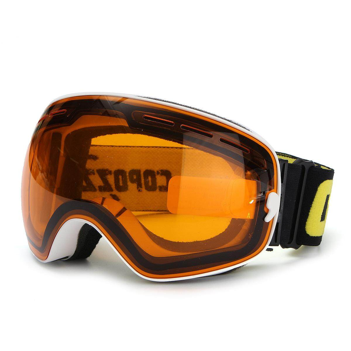 COPOZZ UV400 Spherical Dual-layer Lens Snowboard Glasses Anti-fog Skiing Goggles #Orange-White - intl