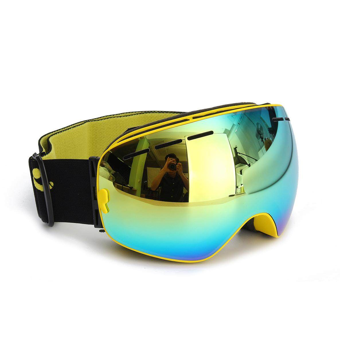 COPOZZ UV400 Spherical Dual-layer Lens Snowboard Glasses Anti-fog Skiing Goggles #Yellow - intl