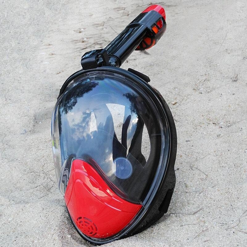 Wajah Penuh Anti-Kabut dan Tahan Bocor Penyelaman Snorkel Masker dengan Area 180 Derajat Tampilan dan Kamera Aksi Mount-Merah