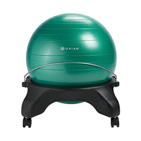 Gaiam Tanpa Bagian Belakang Balance Bola Kursi-52 Cm Bola Stabilitas Meja Rumah & Kantor Kursi dengan Pompa Inflasi, hijau-Internasional