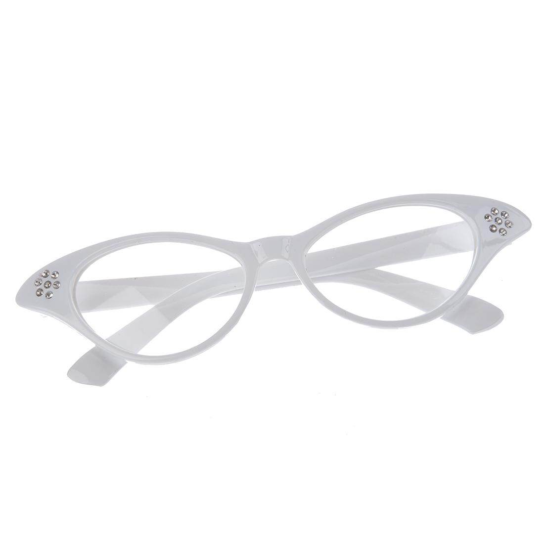 89f263f29e Grease Ladies Girls Cat Eye Glasses Dame Edna Retro Fancy Dress Specs -  White (Intl