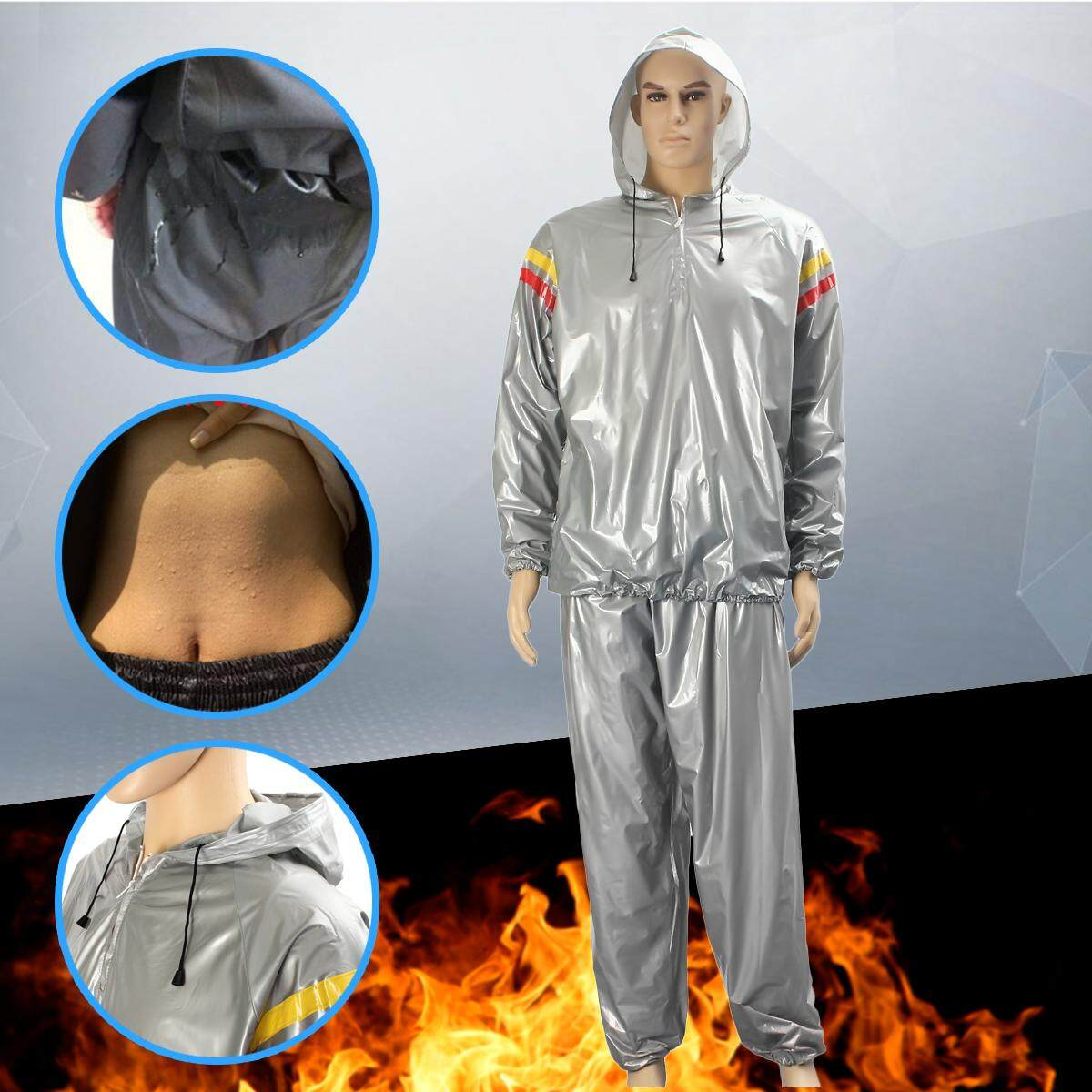 0b5ff7ecf20 Heavy Duty Weight Loss Slim Sweat Exercise Gym Fitness Sauna Suit Hoodie  3XL - intl