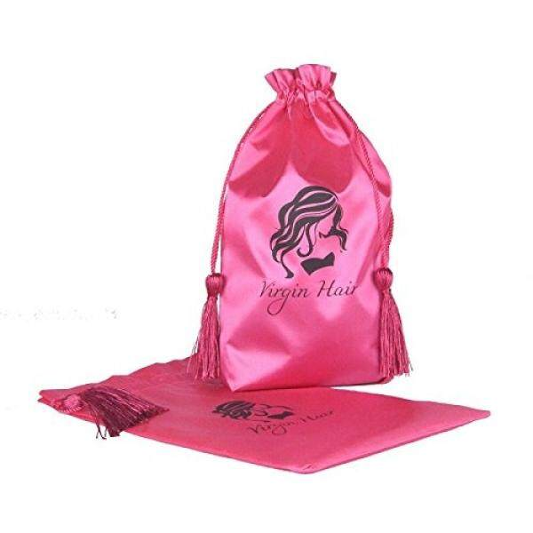 Jetdio Virgin Rambut Kemasan Tas dengan Drawstring, Kumpulan Ekstensi Rambut Satin Tas dengan Rumbai, 5 Pack, merah Muda-Internasional