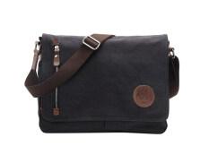 3033fbdccdc Leegoal Men s Vintage Canvas Schoolbag Shoulder Messenger Bag, Black