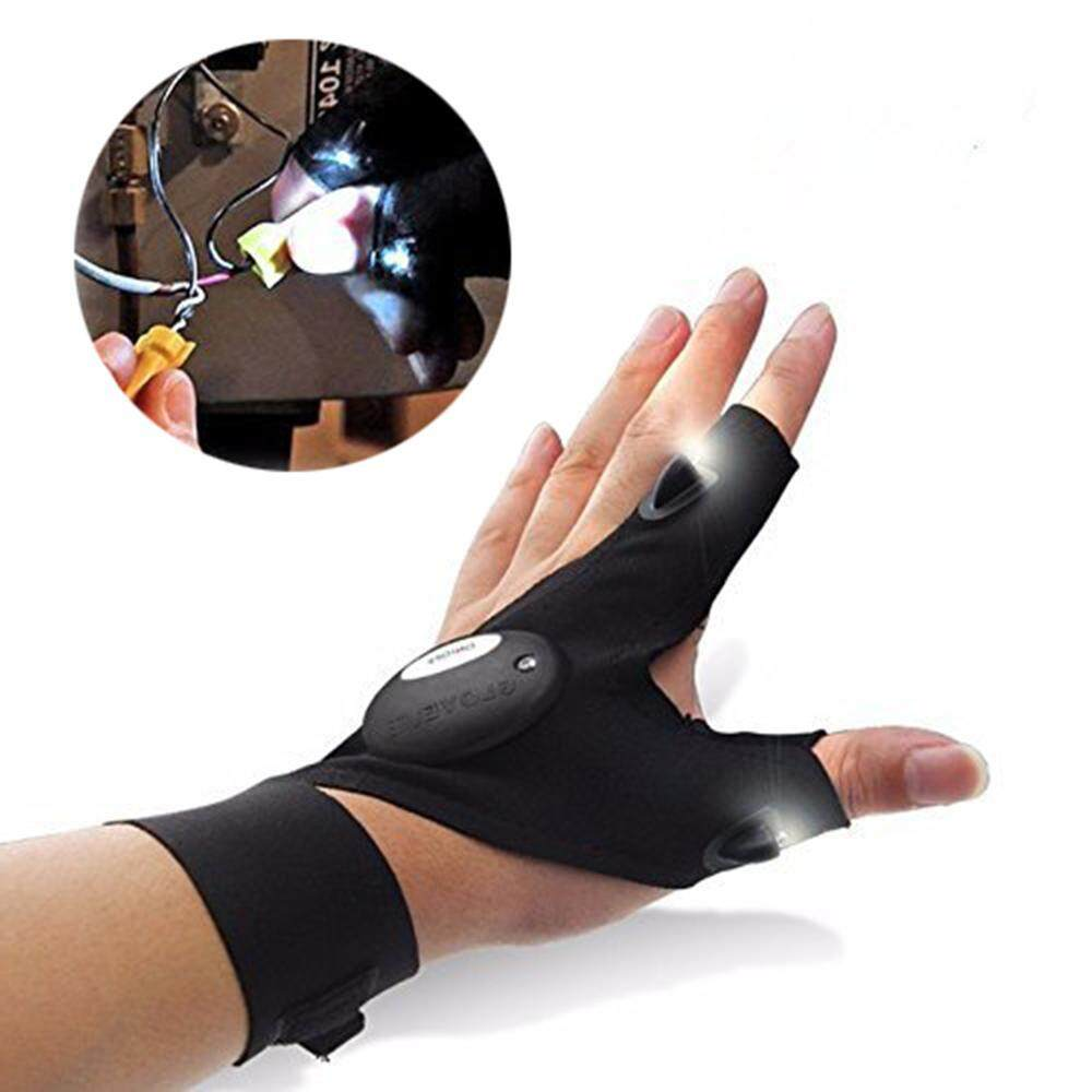 Niceeshop Outdoor Electric Night Lighting Gloves Led Torch Cover Thumb Index Finger Gloves Bicycle Glove For Camping Hiking Emergency Survival -Left Hand - Intl By Nicee Shop.