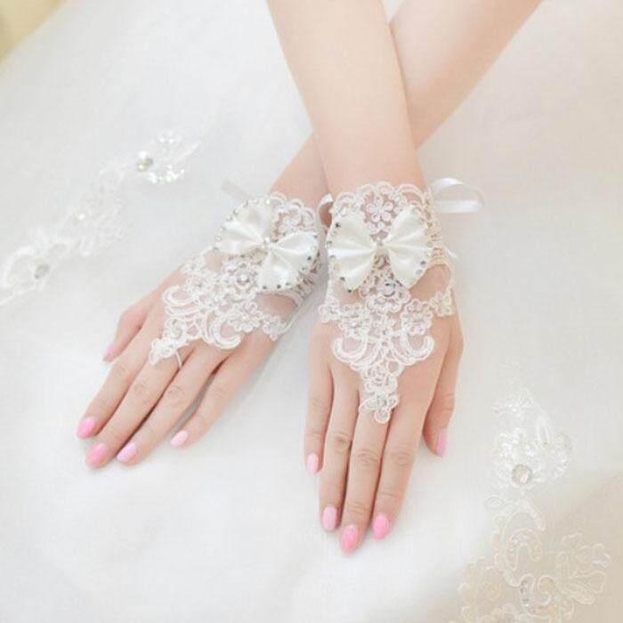 Berlian Buatan Renda Pengantin Pernikahan Bunga Ikatan Simpul Pendek Tanpa Jari Sarung Tangan-Internasional