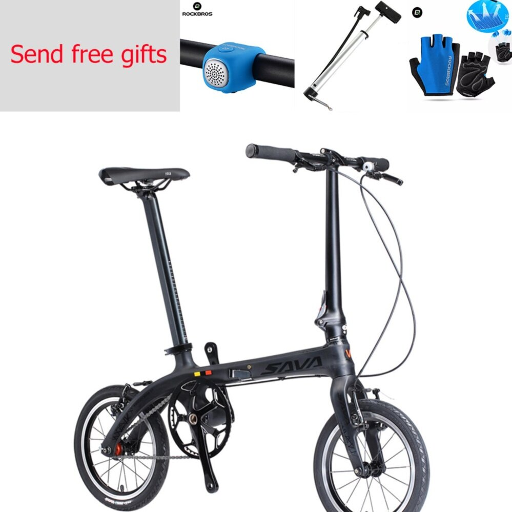Sava Zq Folding Bike 14 Carbon Fiber Urban Mini City Bicycle Single Speed Send Free Gifts - Intl By Rockbros Store.