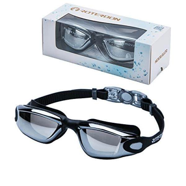 Swimming Goggles, Roterdon Swim Goggles Orang Dewasa Anti Fog Water Proof Kids Mata UV Perlindungan Mirrored Racing Air Goggle untuk Pria Wanita Youth Junior dari Berenang Di Toko Online (Hitam) -Intl