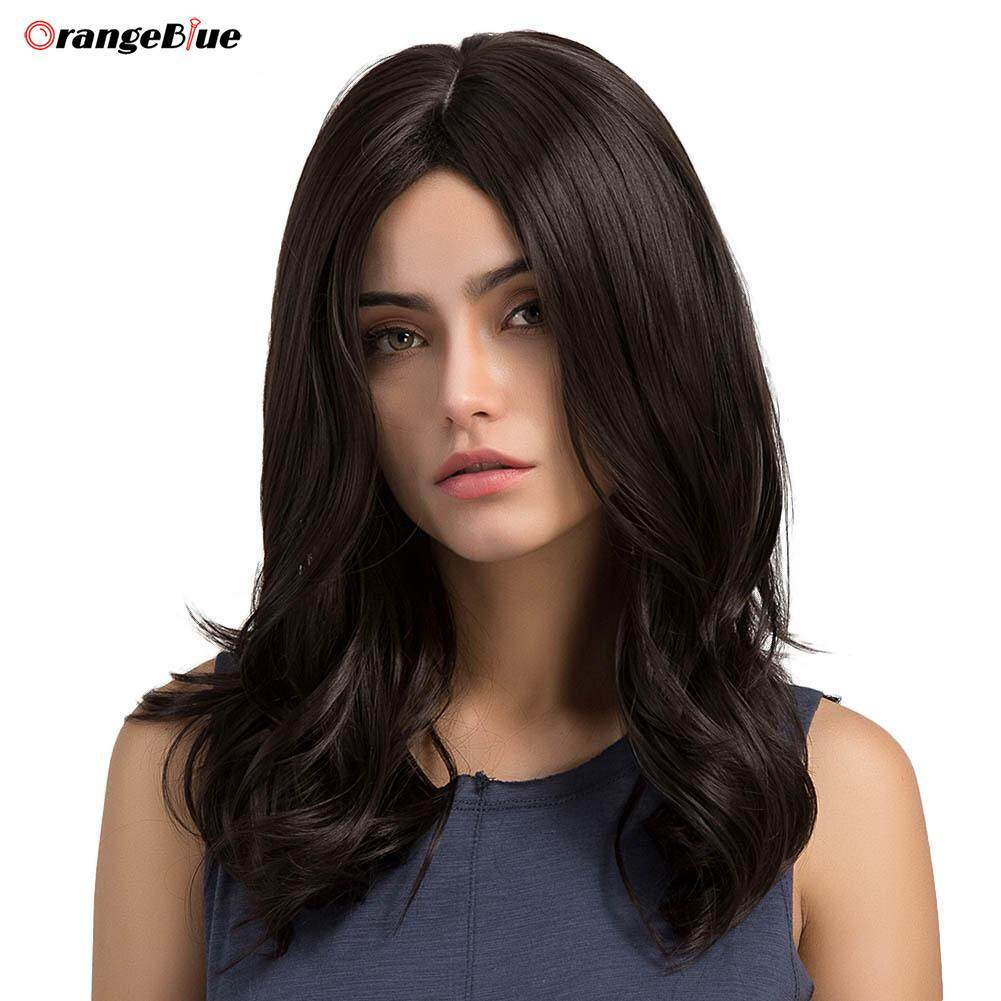 OBlue Women Sexy Medium Length Big Wavy Curly Wigs Central Parting Black Synthetic Hair Lady Girl