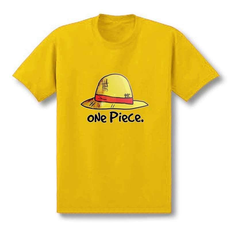 DIY ขายดีหนึ่งชิ้นเสื้อ T Mens หมวกฟางลูฟี่เสื้อผ้าฝ้ายปกติ Tees เสื้อยืดแขนสั้น