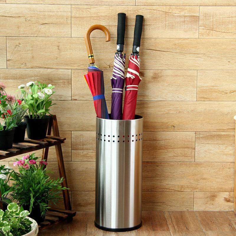 Super Quality Umbrella Stand Perforated Sides Umbrella Holder Black Finished Metal Stainless Steel Rim