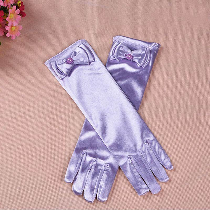 1Pair Girls Satin Bow Pearl Gloves Princess Wedding Party Dress Dance Costume Light Purple - intl