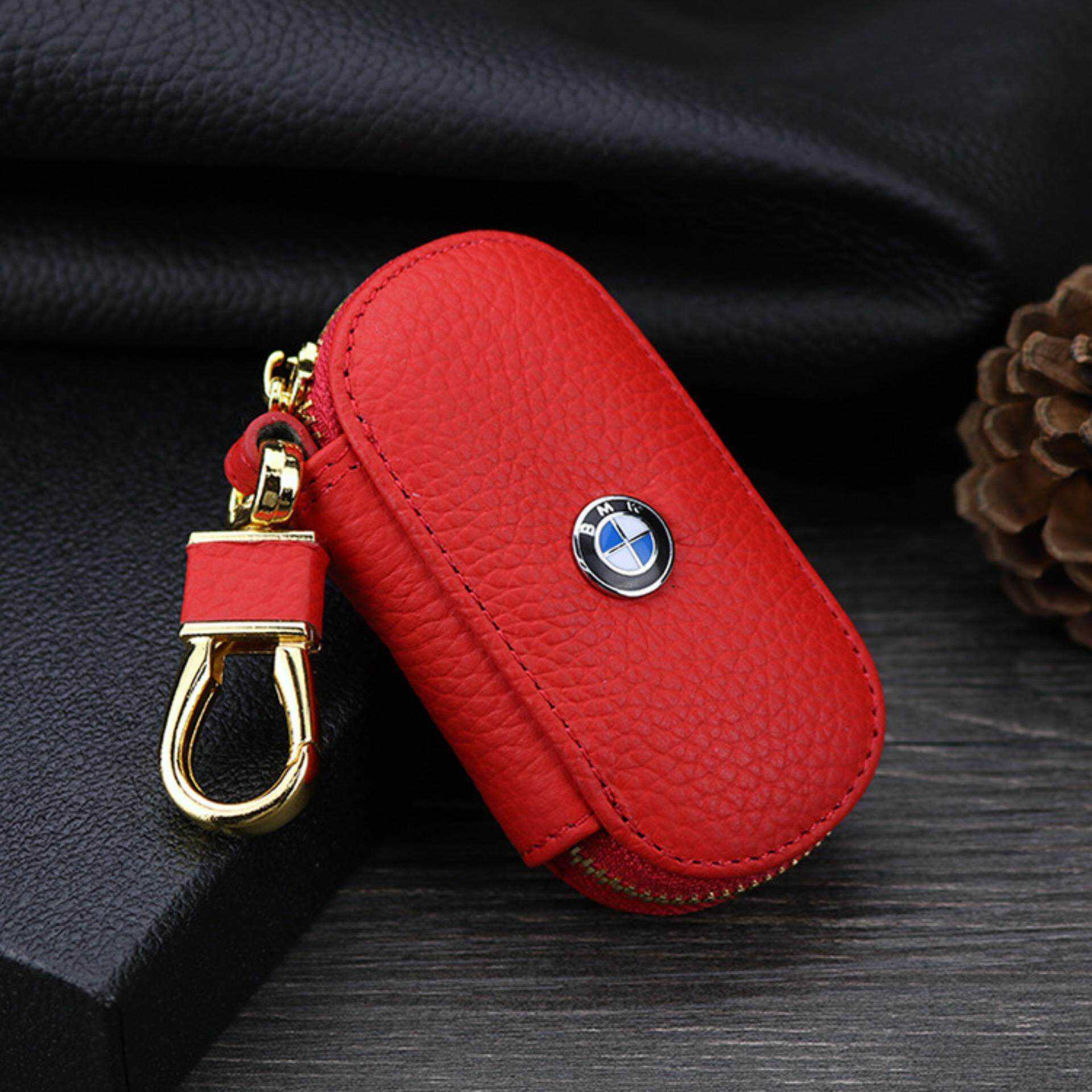 1pc Leather Key Wallet Car Key Case For For BMW E90 F10 F30 E34 F20 X5 E53 E30 X6 X1 X3 E46 E39 (red) - intl