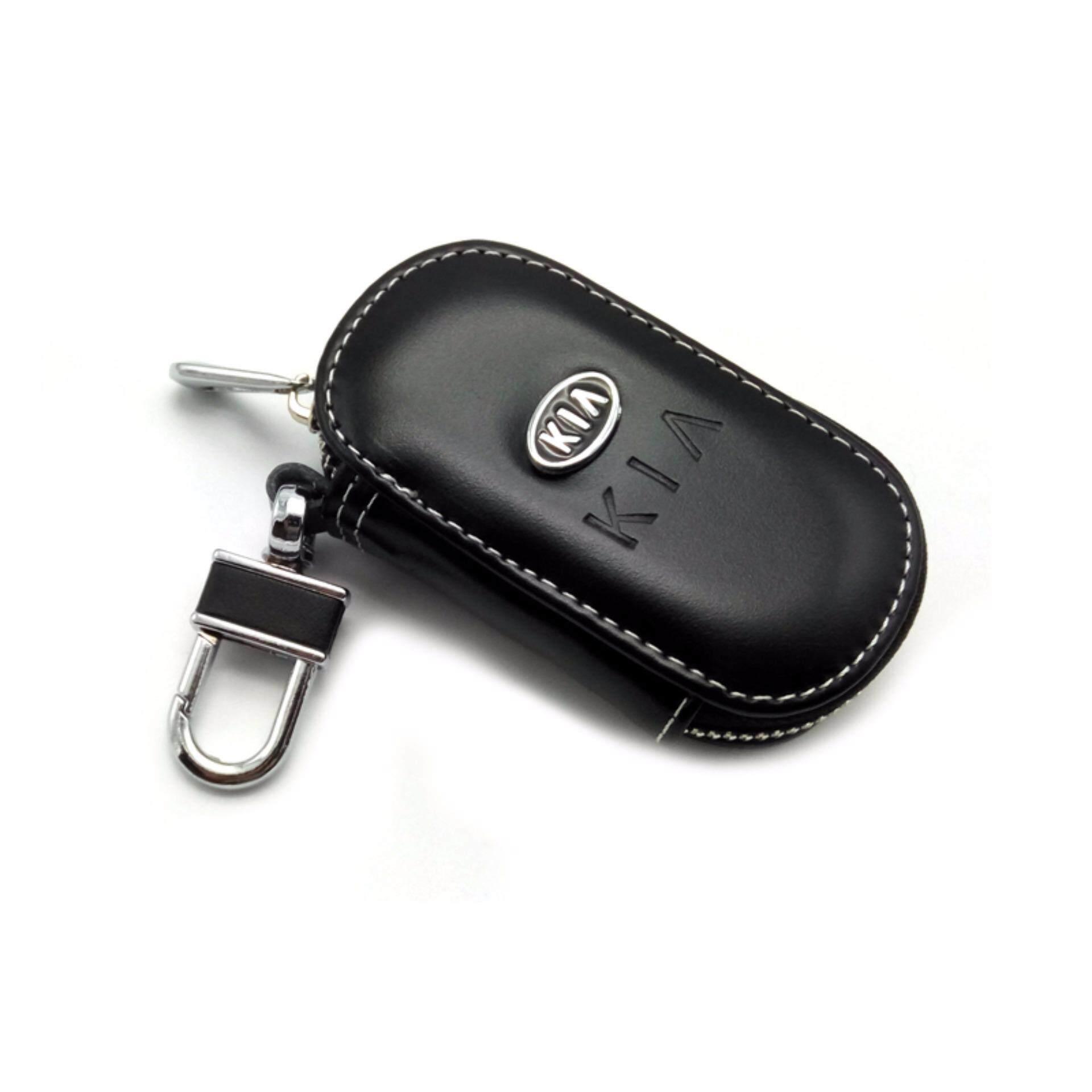 1 Pcs Pengemudi Mobil Kunci Tas Hitam Kulit Kartu Kredit Tas untuk KIA Mobil Logo-Internasional