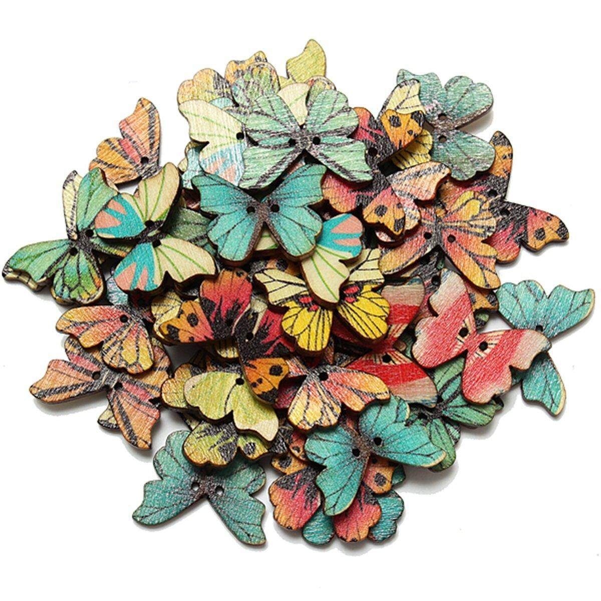 50pcs 2 Holes Mixed Butterfly Wooden Button Sewing Scrapbooking Diy Craft - Intl By Superbuy888.