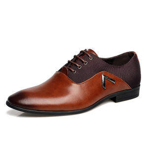 Business Men's Basic Flat Leather Gentle Wedding Dress Shoes Luxury Brand Formal Wearing British Fashion Brown - intl