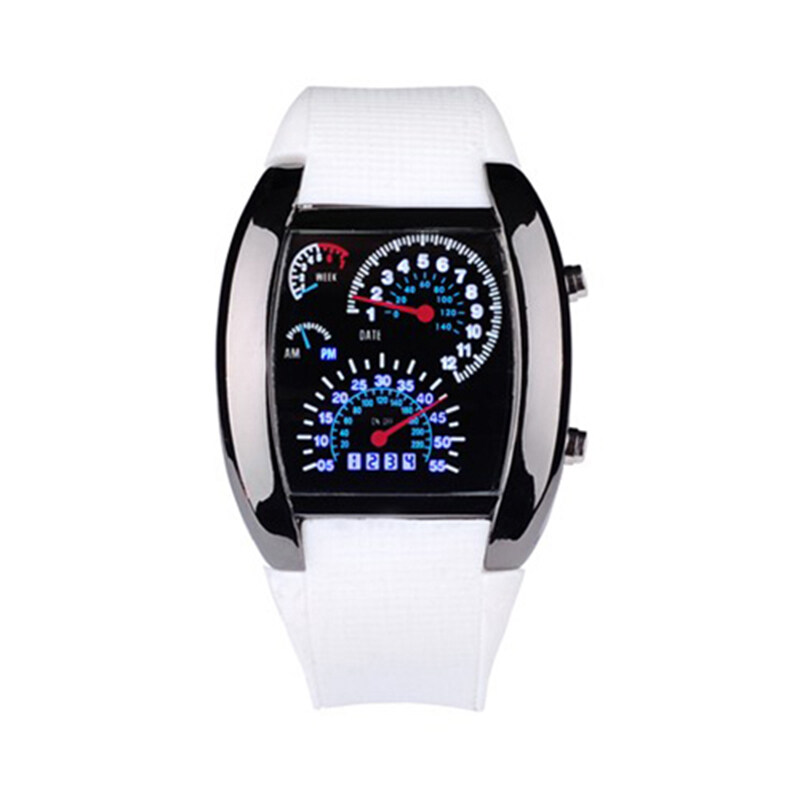 BUYINCOINS RPM Turbo Flash White-Blue LED Light Car Meter Watch Mens Wristwatch Malaysia