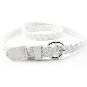 Charm Leather Weave Belts Women Braided Belt Slim Casual Waistband Girdle White - intl