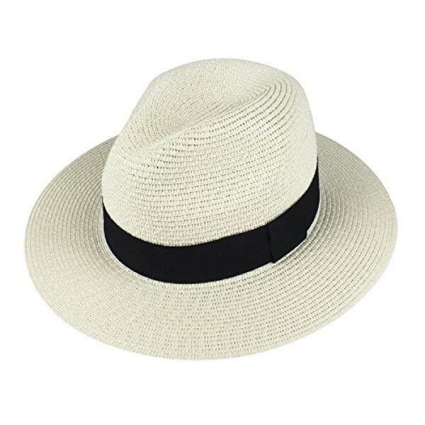 Choomon Wanita Jerami Fedora Panama Matahari Topi Lebar Pinggiran Garis Tali Musim Panas Pantai Tutup-