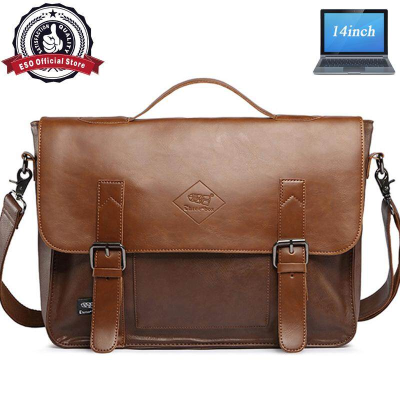 Eso Classic Britian Messenger Beg 14inch Laptop Holder Single Shoulder Leather Business Cross Body Bag - intl