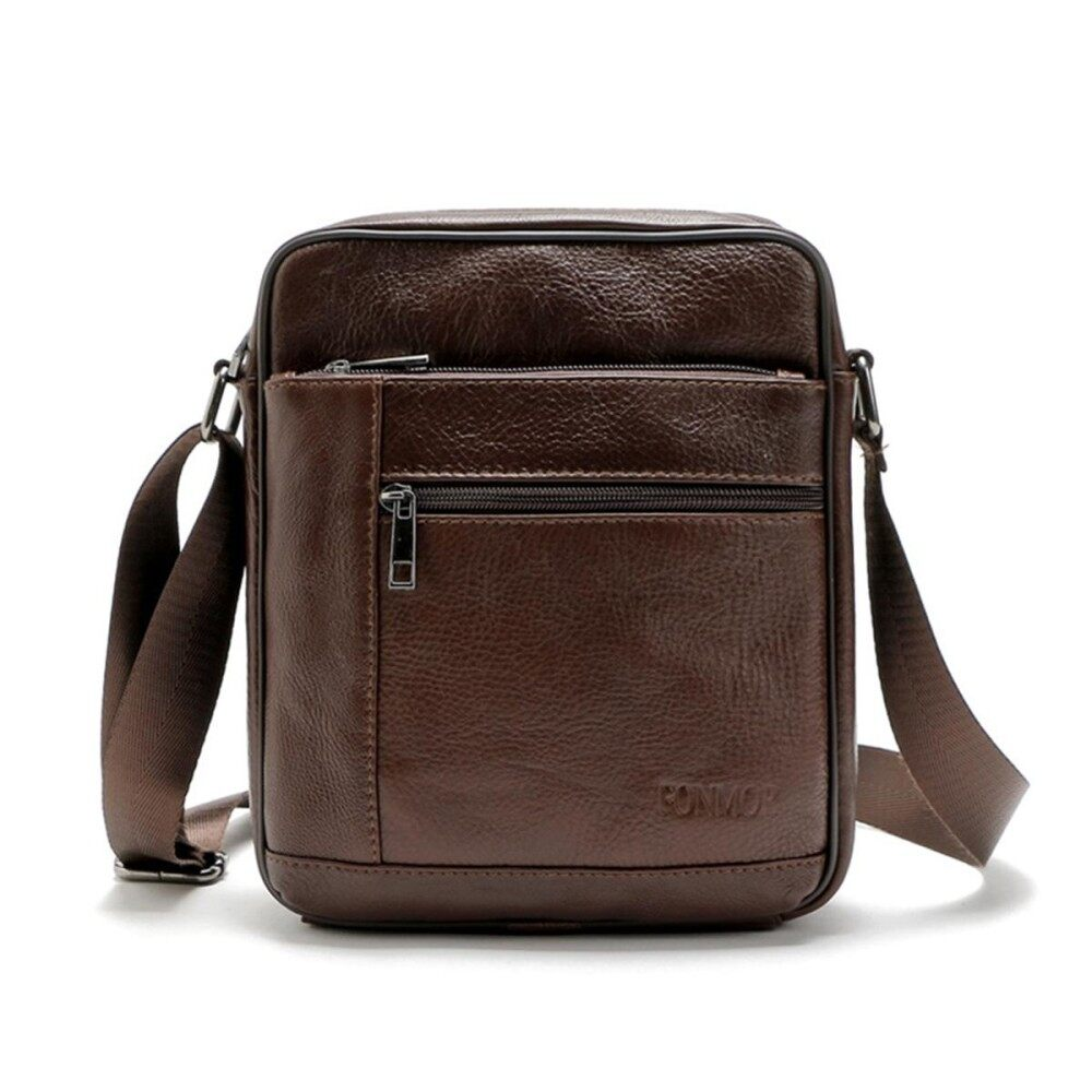 Fashion Men Genuine Leather Crossbody Shoulder Bag Business Messenger Bags Tote#Brown - intl