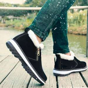 Fashion Men Zipper Warm Winter Snown Plush Lining Ankle Boots - intl