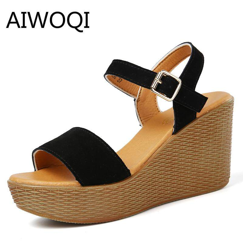 4dcc06db654 Fashion women wedge sandals Slope heel sandals women s summer waterproof  platform 2018 new styles of high