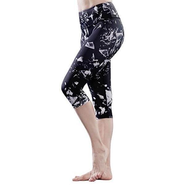 Favobodinn Jogging Legging untuk Wanita-Wanita Kerja Capri Tummy Pengendali BERJALAN 4 Cara Regang Yoga Celana Es Berpola (S, celana Yoga)-Internasional