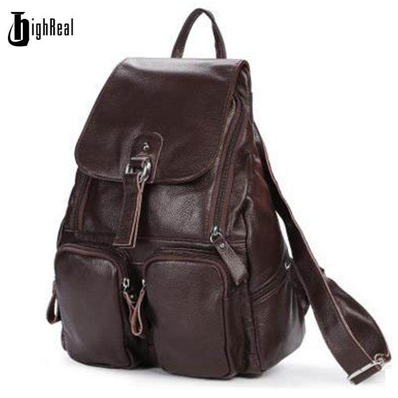 522c55d36b HIGHREAL Women Genuine Leather Backpacks Brand Ladies Fashion Backpacks For  Teenagers Girls School Bags Real Leather