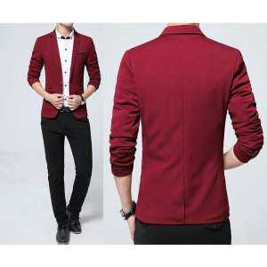 Hot Sale Men's Fashion Brand Blazers Casual Slim Fit Suits Jacket Male Blazers Mens Coat Wedding Dress Plus Size (Red) - intl