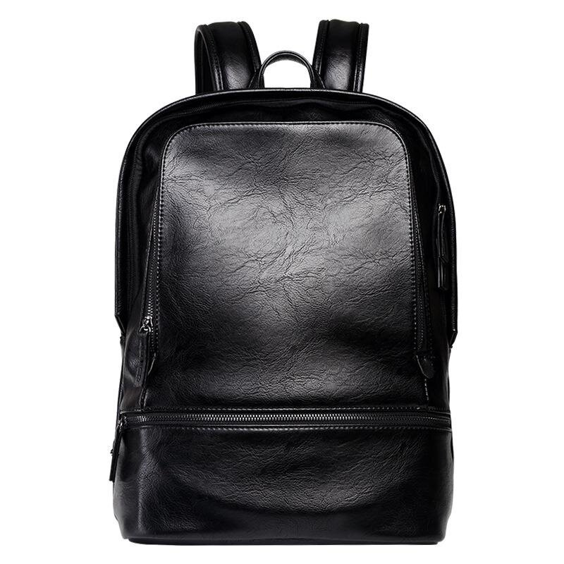 Hot Sales Men Casual Fashion Backpack Schoolbag Outdoor Leisure Leather Travel Bag Multifunction Large Capability Waterproof Laptop Bag (Black) - intl