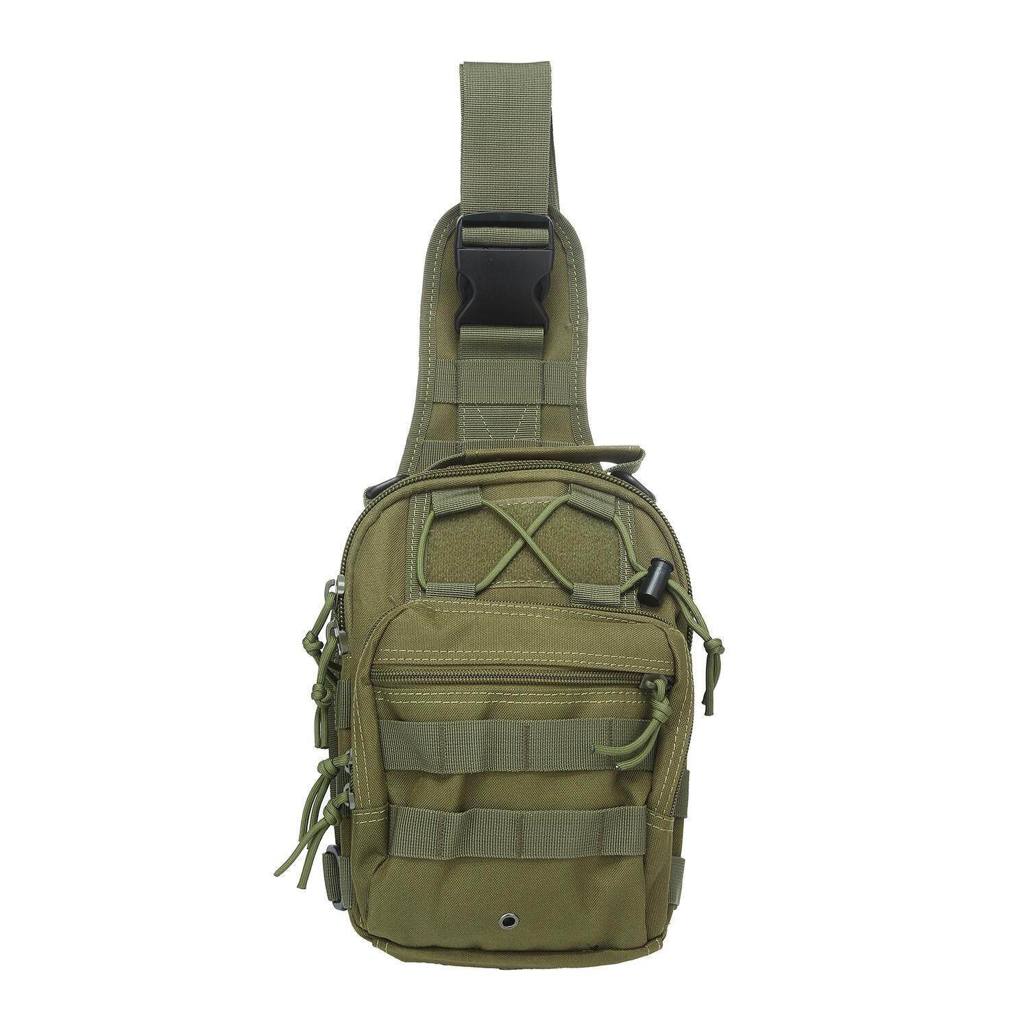 Kobwa Outdoor Tactical Backpack, Canvas Shoulder Sling Backpack Chest Deployment Bags For Camping,hiking,trekking,rover Sling Pack Chest Pack - Army Green - Intl By Kobwa Direct.