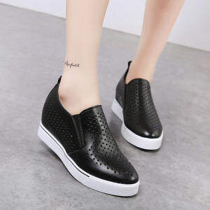 Le Fuhan edition spring-summer New style thick bottomed leather sneakers elevator women's shoes (Women's + Black)