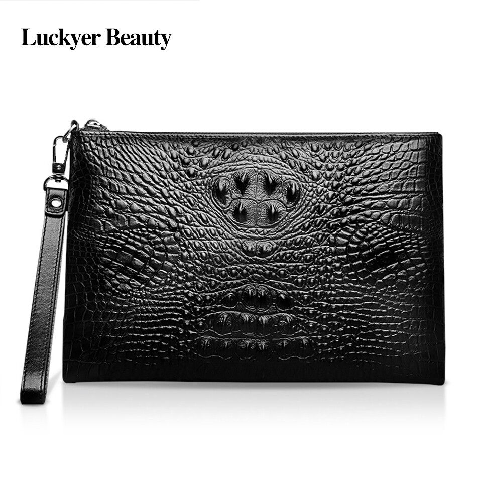 LUCKYER BEAUTY High Quality Genuine Cow Leather Crocodile Pattern Unisex Day Clutch Bag Luxury Party Handbags Business Zipper Clutch Bag - intl