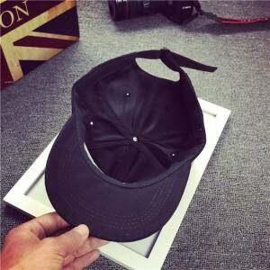 Men Women Letter Black Hat Hip Hop Kpop Curved Strapback Baseball Cap Adjustable - intl