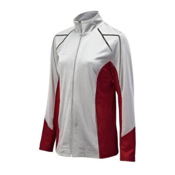Mizuno Wanita Penuh Risleting G3 Jaket, Putih/Kardinal,-Internasional
