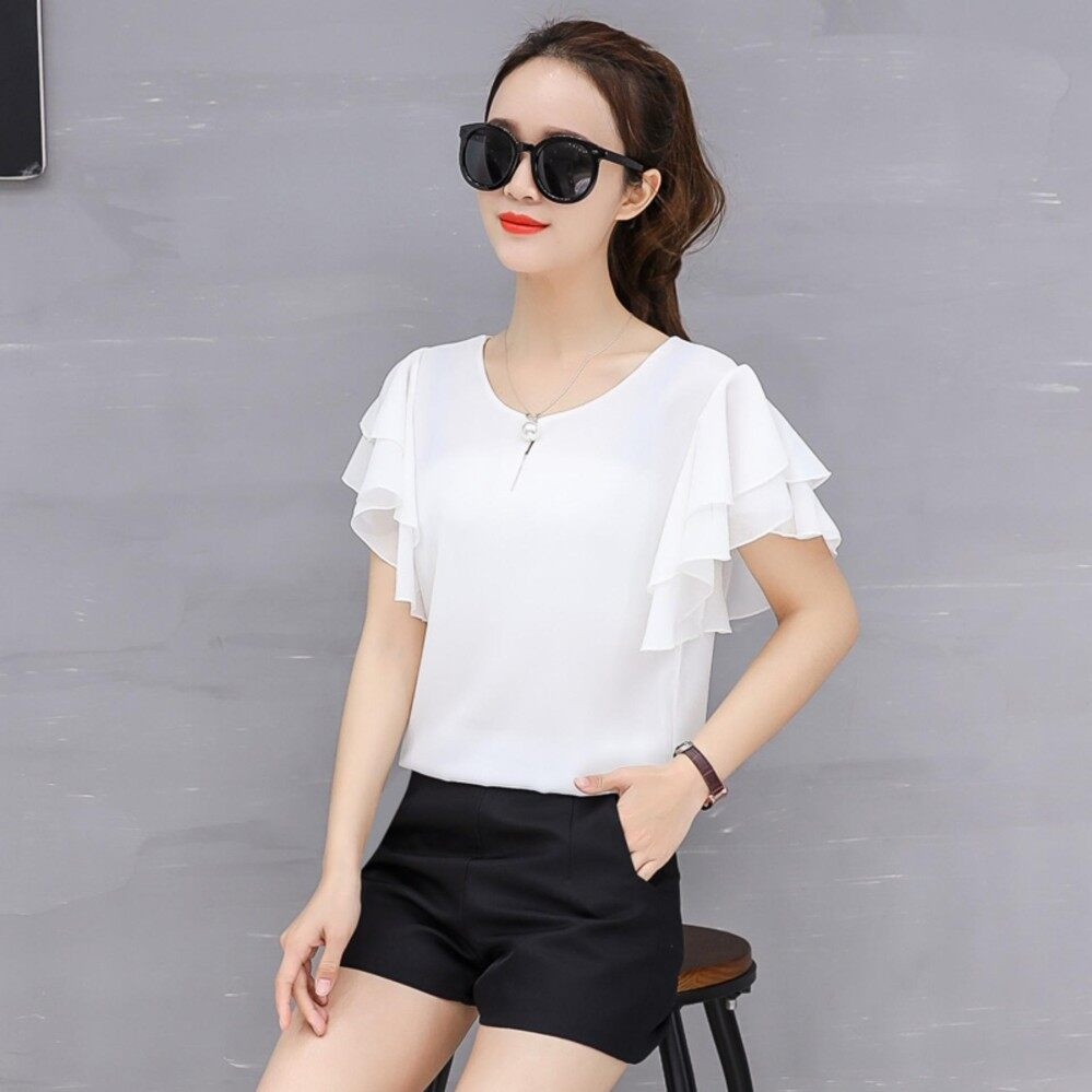 Moon Sunday Women's Plain O-Neck Short Sleeve Casual Fashion Summer Elegant Chiffon T-shirt Top & Blouse Blouse T Shirt For Women Blouse T Shirt For Women Blouse Women T Shirt Women Blouse Women Shirt  Holiday & Beach  Free Shipping