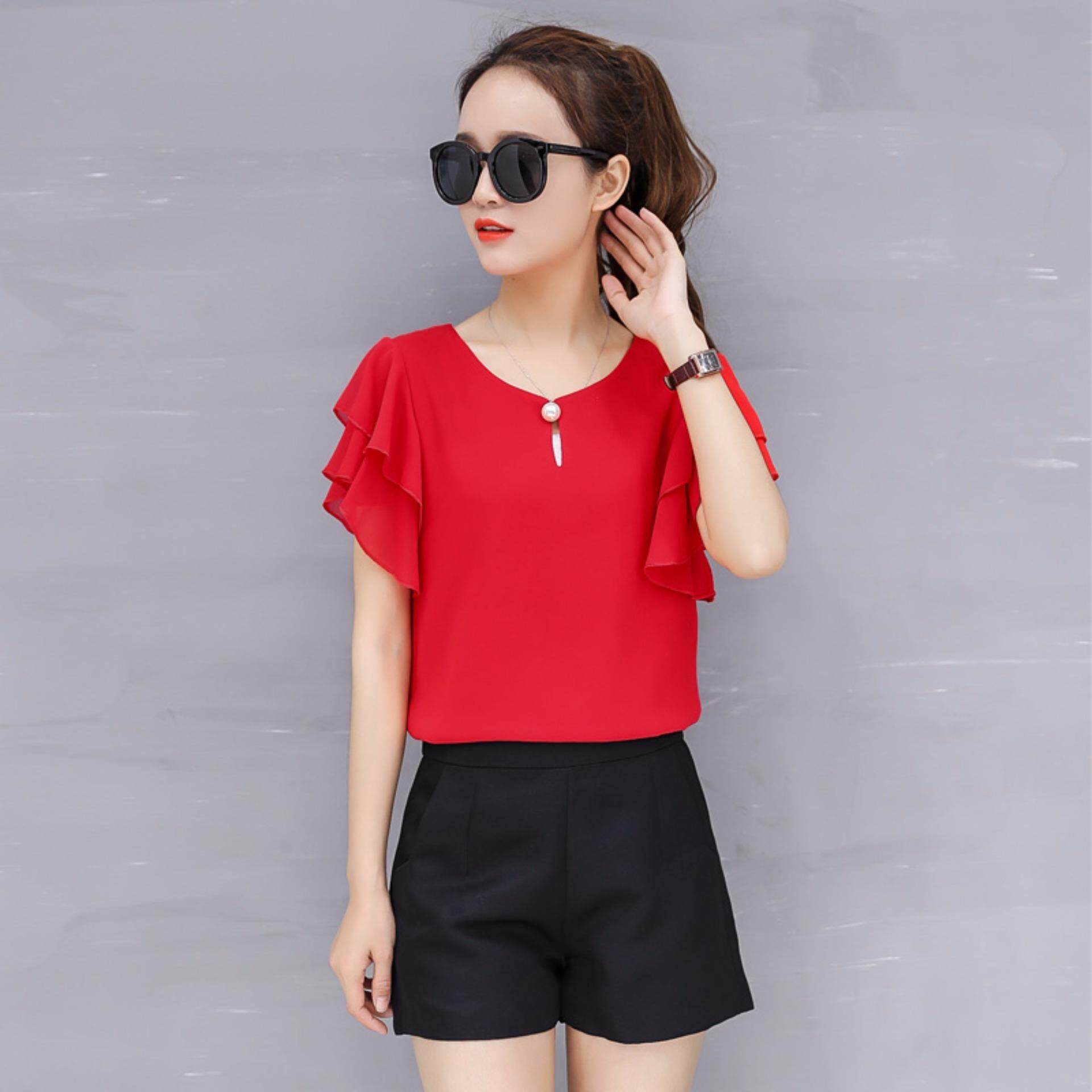 Moon Sunday Women's Plain O-Neck Short Sleeve Casual Fashion Summer Elegant Chiffon T-shirt Top & Blouse Blouse T Shirt For Women Blouse T Shirt For Women Blouse Women T Shirt Women Blouse Women Shirt  Holiday & Beach  Free Shipping เสื้อเบลาส์และเสื้อเชิ้ต
