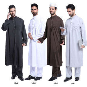 Hình thu nhỏ sản phẩm Muslimin robes malaysian men's clothes muslim men's wear men jubahs men long sleeve shirts(Coffee) - intl