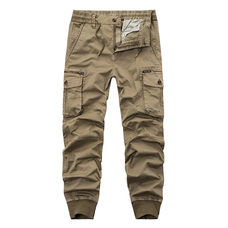 e43f77f9 New 2018 Brand Casual Joggers Solid Color Pants Men Cotton Elastic Trousers  Military Style Army Cargo